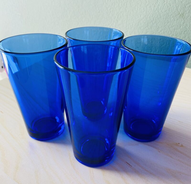"Libbey Cobalt Blue FLARE 5 7/8"" Coolers/Glasses/Tumblers - Set of 4"