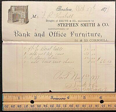 1871 **STEPHEN SMITH & CO.** BOSTON, MASS.  BILLHEAD!  NOTABLE:  FRANK KIMBALL!