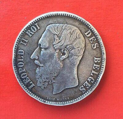 Belgique - Léopold II -  Rare et Très  Jolie  5 Francs  1866 avec point