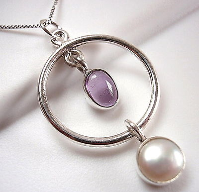 Amethyst Cultured Pearl Hoop Necklace 925 Sterling Silver Double Gem Stone New Amethyst Cultured Pearl Necklace