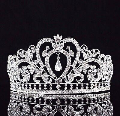 Heart Floral Clear Austrian Rhinestone Tiara Crown Bridal Pageant Prom T10](Heart Tiara)