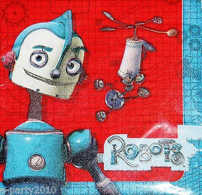 ROBOTS LUNCH NAPKINS (16) ~ Birthday Party Supplies Dinner Large Rodney Movie Robot Birthday Party Supplies