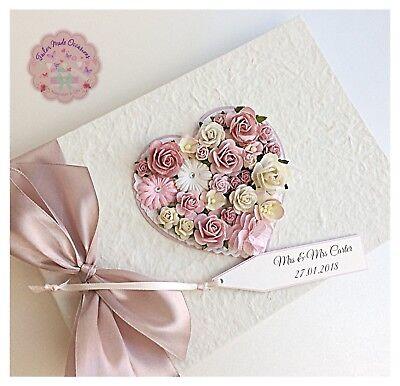 Personalised Wedding Guest Book Luxury Vintage Floral Heart Design