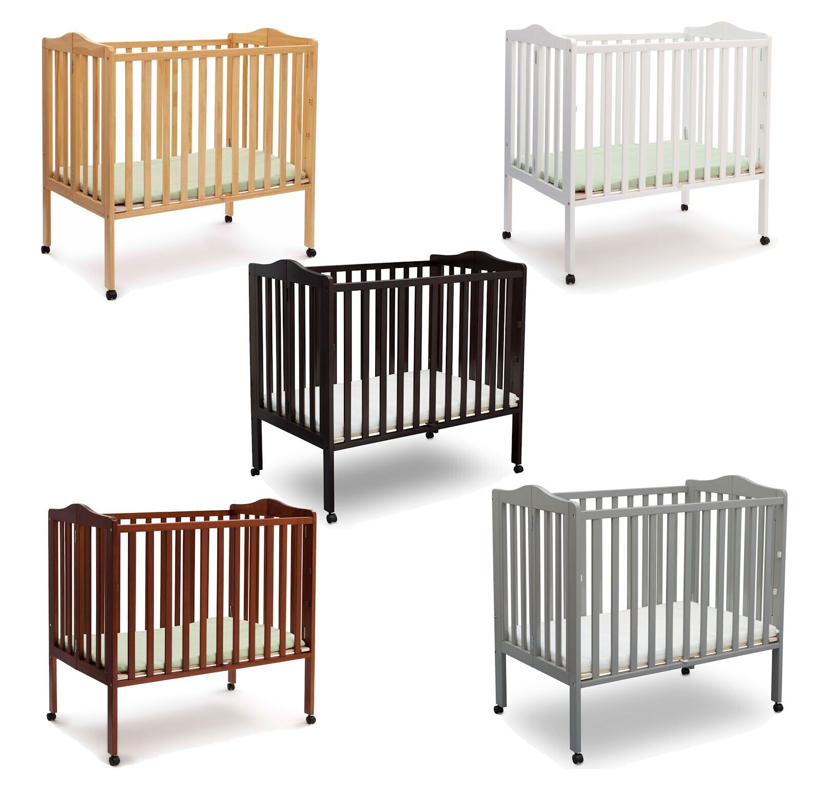 Wood Baby Crib Convertible Toddler Bed with Mattress Folding