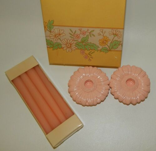 Vintage 1985 NOS Avon Fancy Flowers Pink Candle Holders & Small Taper Candles