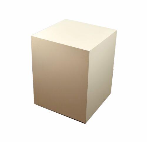 Vintage Short Modern White Rectangular Cube Pedestal Sculpture Plant Stand