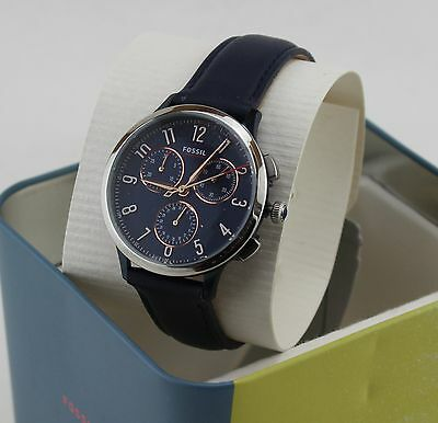 NEW AUTHENTIC FOSSIL ABILENE SPORT SILVER BLUE CHRONOGRAPH WOMEN'S CH3072 WATCH