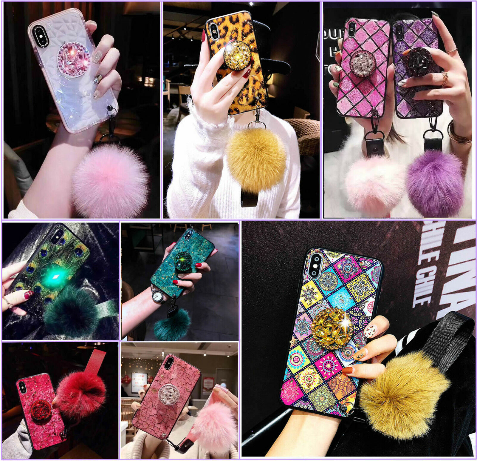 For iPhone XR XSMAX 67 8 Bling Diamond Stand Plush Ball Airb