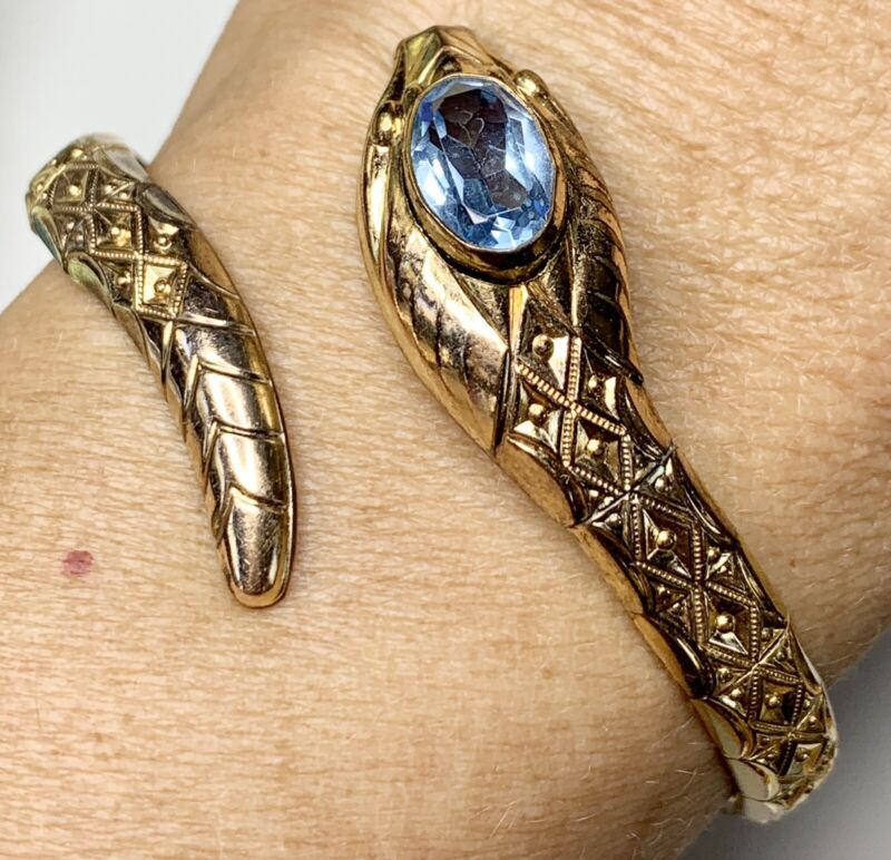 Andreas Daub Gold fill Snake Bracelet. A+D, Germany. Antique Serpent Jewelry
