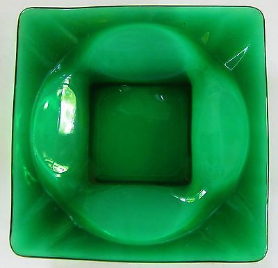 "Vintage Dark Green Glass Square Ashtray 4 5/8"" x 4 5/8"" - VERY NICE!"