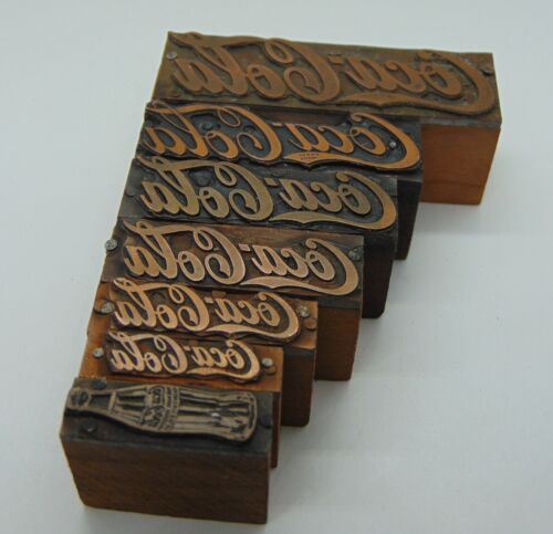 Printing Letterpress Printers Block Lot of 7 Coca-Cola Different Sizes
