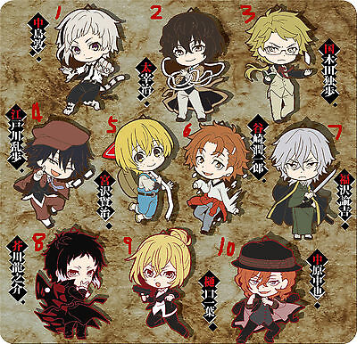 T180 Hot anime Bungou Stray Dogs Rubber Keychain Key Ring Rare straps cosplay