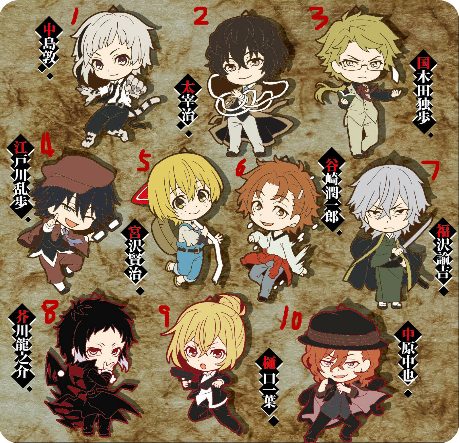 T330  Anime Bungou Stray Dogs badges Pins Schoolbag Backpack Decorate