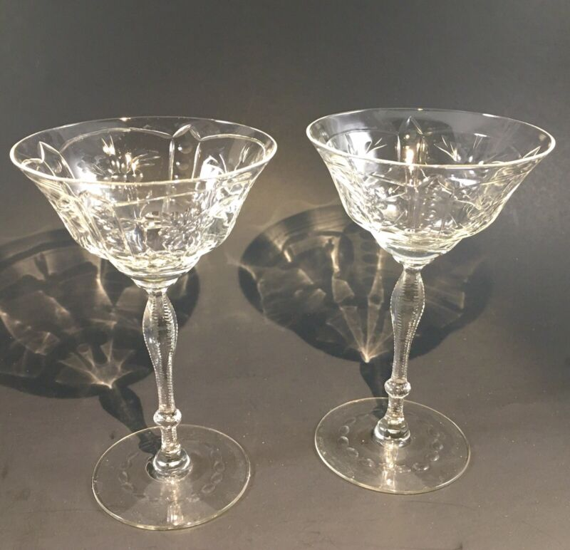 Two VTG  Needle Etched Champagne Coupes Glasses Optic Martini Stemware Barware