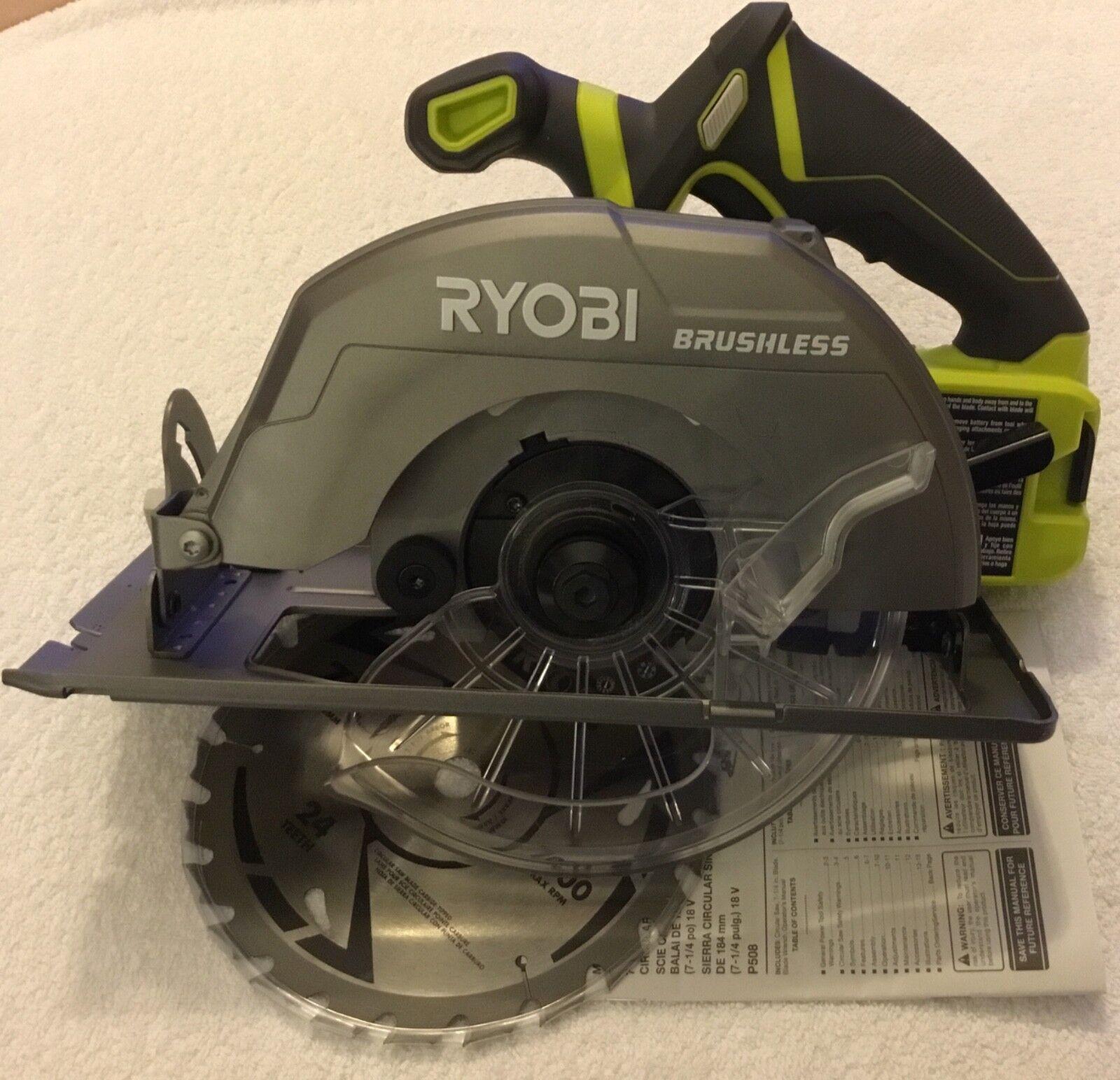 New Ryobi P508 One+18 Volt Brushless Cordless 7-1/4 Circular