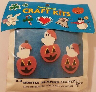 Ghostly Pumpkin Magnet Halloween Kids' Felt Craft Project Kit Mac Enterprises  - Halloween Magnet Craft