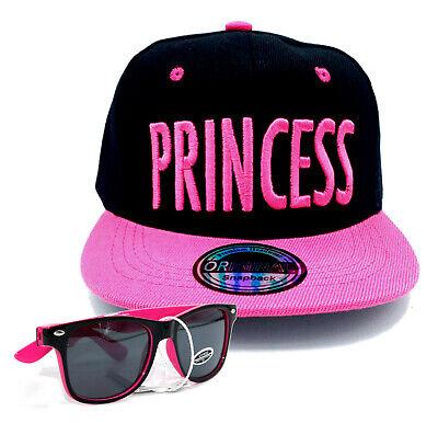 SET Cappy + Sonnenbrille Kinder Mädchen Kappe Schirm-Mütze Princess schwarz pink