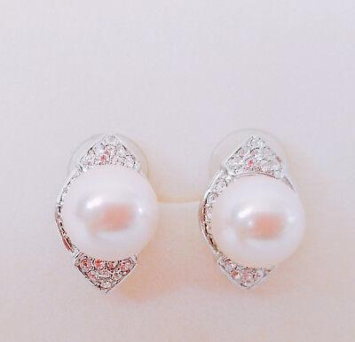 New Genuine Cultured Pink Pearl Ellipse Crystal Ear Stud Jewelry Earrings ER1322 Crystal Cultured Pearl Earrings