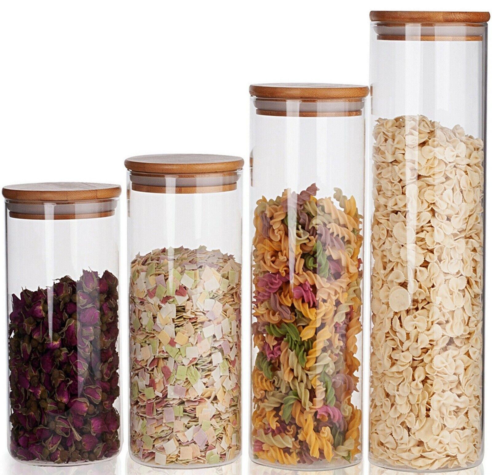 4 Vorratsgläser Vorratsdosen Set mit Deckel Vorratsglas Glas Behälter Dose Pasta