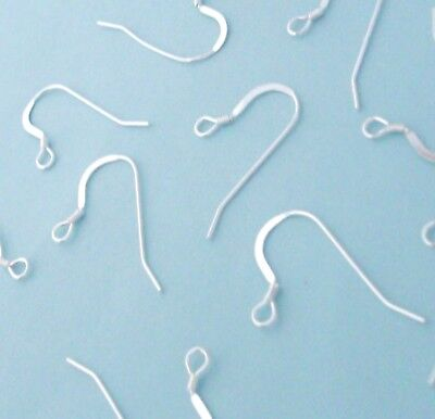 50 Sterling Silver French Wire Earring Hook Findings with Coil, Long Style ()