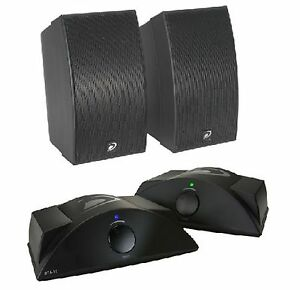 WIRELESS SURROUND SOUND SPEAKERS HOME THEATER PAIR WITH TRANSMITTER AND RECEIVER