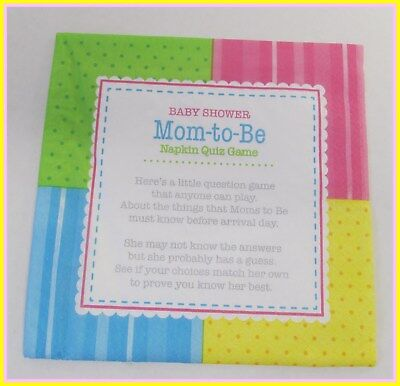 Baby Shower Game --  Mom to Be Trivia Napkins for 24 players  - FREE - Baby Shower Games Trivia