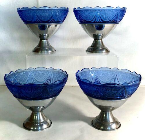 4 Hazel Atlas Blue Royal Lace Sherbets In Metal Holders