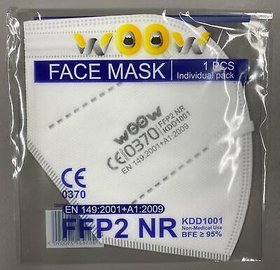 50 X FFP2 Maske Atemschutzmaske Mundschutz CE Zertifiziert Einzel verpackt MNS