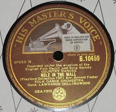 FOLK DANCE ORCHESTRA ENGLISH FOLK DANCE SONG SOCIETY HMV 78RPM B10459 English Folk Song