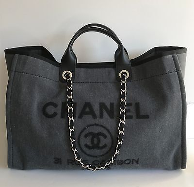 Chanel Deauville Sequins Large Tote Charcoal Grey NEW 2017 CRUISE 17yrs on eBay