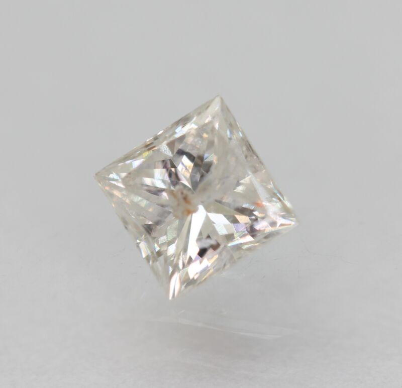 Certified 0.44 Carat E Color Princess Enhanced Natural Diamond 4.21x4.09mm 2VG