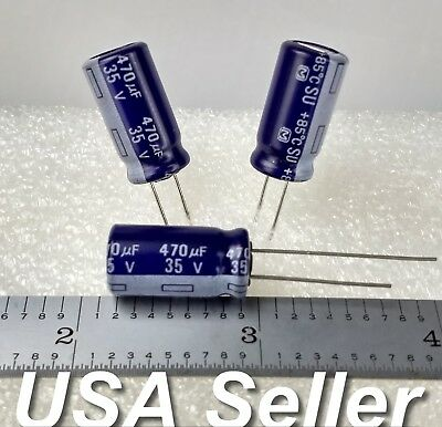 Lot Of 3 - 470uf 35v Panasonic Su Series Electrolytic Capacitors - Usa Shipping