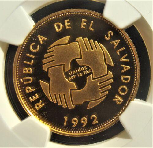 El Salvador: Republic gold 2500 Colones 1992, PF67 Ultra Cameo NGC.