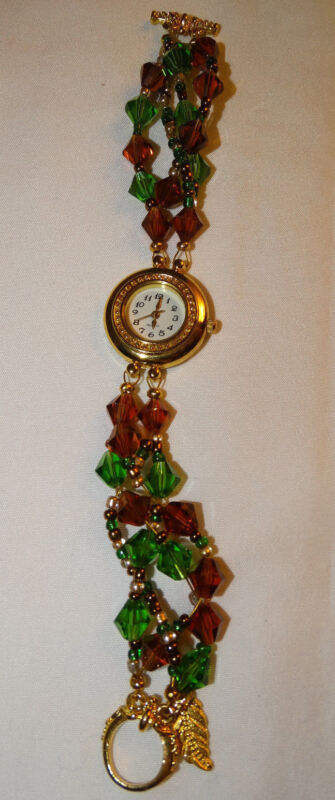 Vintage Jeweled Watch Green and Red Band with Gold Tone