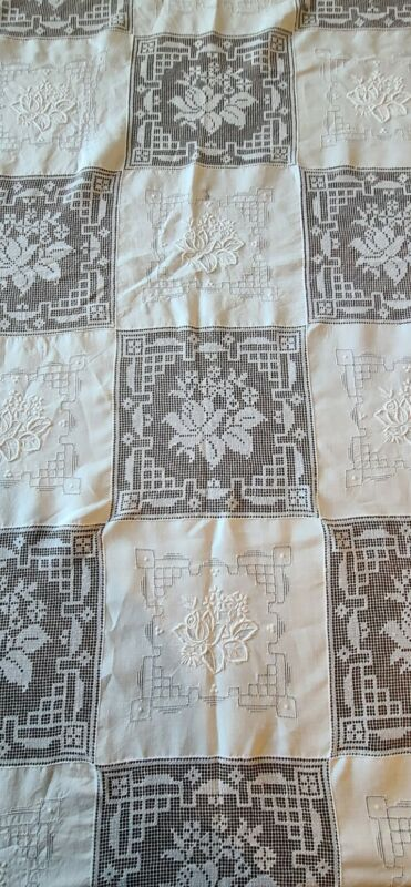 Antique Embroidery & Filet Lace Tablecloth Victorian White  Vintage 104x72