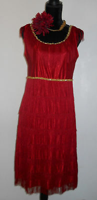 Girl's Mid length Red Fringed Flapper Dress Costume with accesories.size 14-16  - Red Flapper Girl Dress