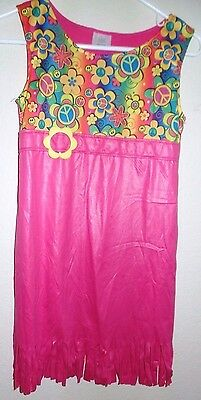 girls size large HIPPIE COSTUME DRESS smile face PEACE SIGNS HALLOWEEN fringes @ - Halloween Girl Faces