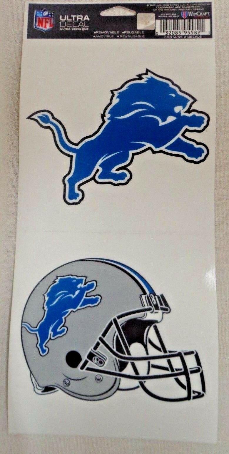 NFL Ultra Decals 2 Pack Set Removable Reusable Sticker Wincraft Detroit Lions