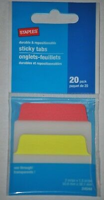 Staples Durable Repositionable Transparent Sticky Tabs 20 Pack 24544