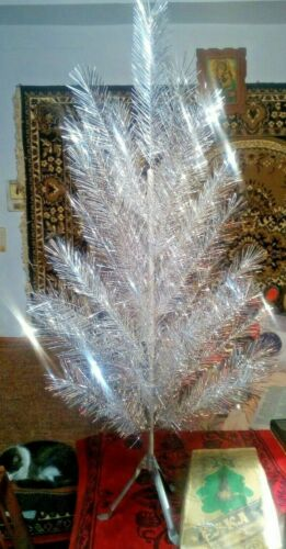 Vintage USSR artificial christmas tree. aluminum color 47in very rare! box!