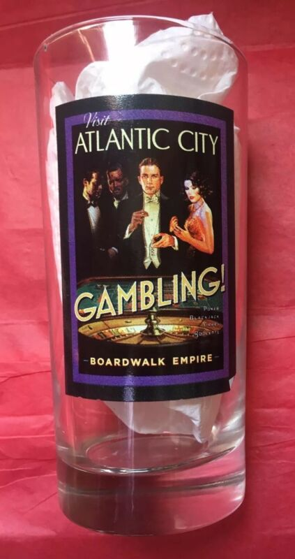 VISIT ATLANTIC CITY BOARDWALK EMPIRE GAMBLING GLASS!GAMBLING ATLANTIC CITY!