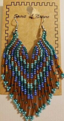 Spirit Of Nature Multi-color Angel Wing Seed Beads Handmade Hook Earrings!