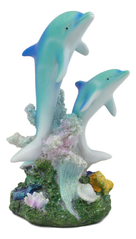 """Two Bottlenose Dolphins Swimming By Coral Reefs Statue 5.5""""H Nautical Decor"""
