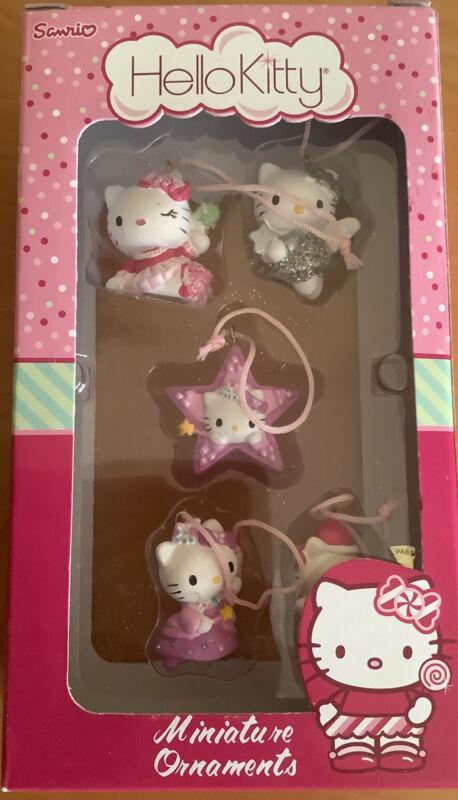 Hello Kitty Christmas Holiday Miniature Ornaments Set Of 5 2007 - Sanrio