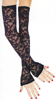 Music Legs 475 Fingerless Gloves Floral Lace Opera X Long Stretch One Size - Lace Opera Gloves