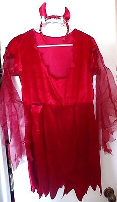 Lady Devil Costume Halloween (womens MATERNITY HALLOWEEN COSTUME DEVIL LADY DRESS HORNS sequins 1 size)
