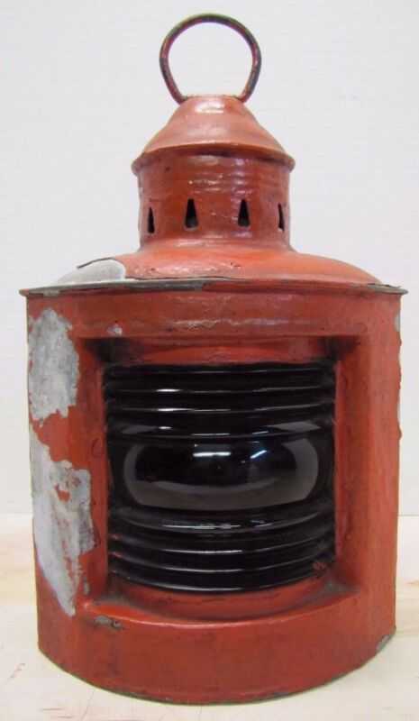 WILCOX CRITTENDEN Old Nautical Lantern Ships Boat Lamp Red Ribbed Glass Light