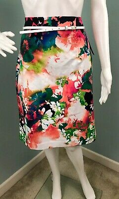 NWT Womens Worthington Belted Floral Print Pencil Skirt Sz -