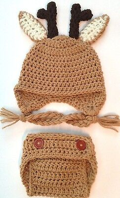 CROCHET REIN DEER BABY HAT DIAPER SET infant toddler child beanie photo prop USA](Reindeer Props)