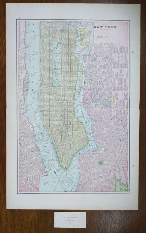 "Vintage 1900 NEW YORK CITY Map 14""x22"" ~ Old Antique Original MANHATTAN QUEENS"